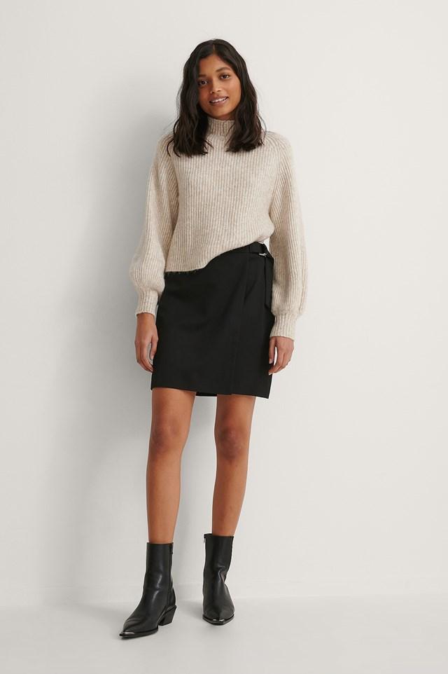 D Ring Overlap Mini Skirt Outfit.