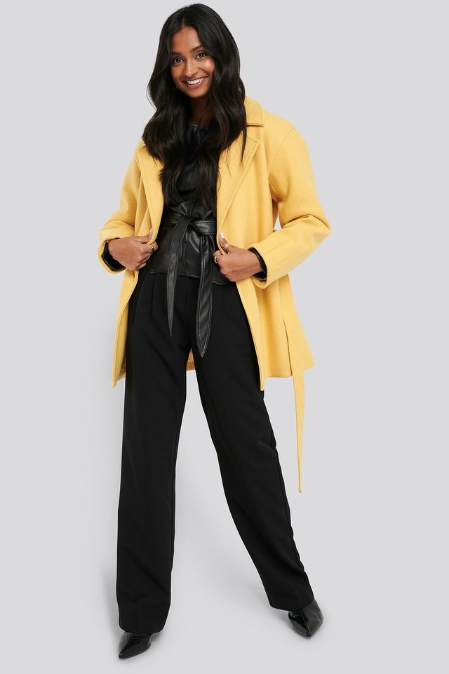 Short Belted Coat Yellow.