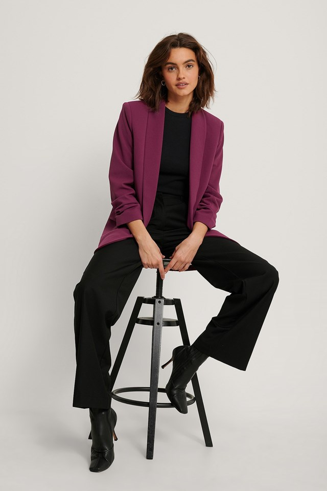 Raspberry Gathered Sleeve Blazer