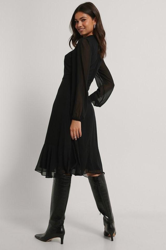 Ruffle Midi Dress Outfit.