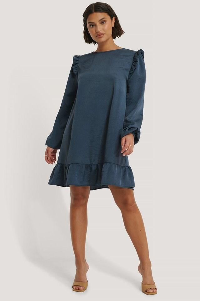 Shoulder Flounce Mini Dress Outfit.