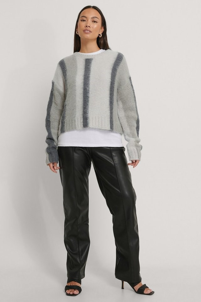 Brushed Knitted Striped Sweater Outfit.