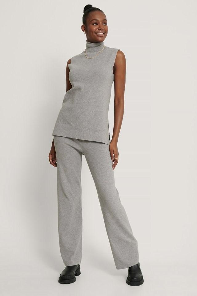 Polo Neck Side Slit Vest Outfit.