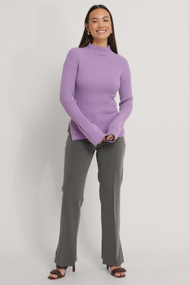 Side Slit Ribbed Knitted Sweater Outfit.