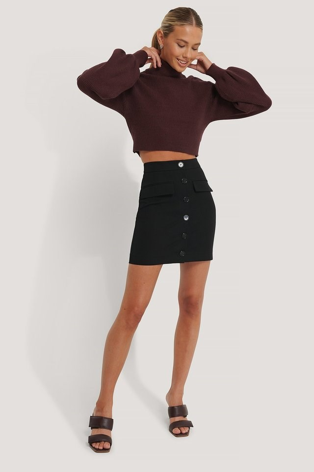 Balloon Sleeve Cropped Polo Sweater Outfit.