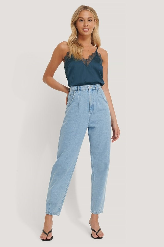 Light Blue Wash Front Dart Slouchy Jeans