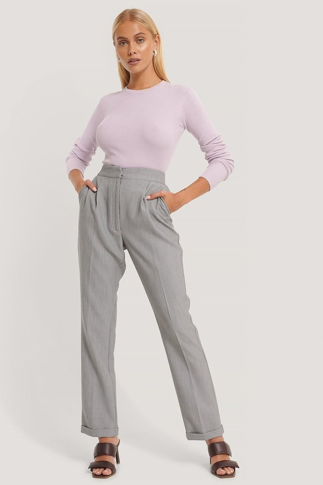 Ribbed Knitted Round Neck Sweater Outfit.