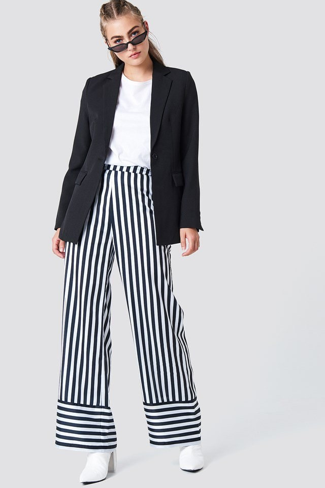 High Waist Wide Striped Pants Outfit