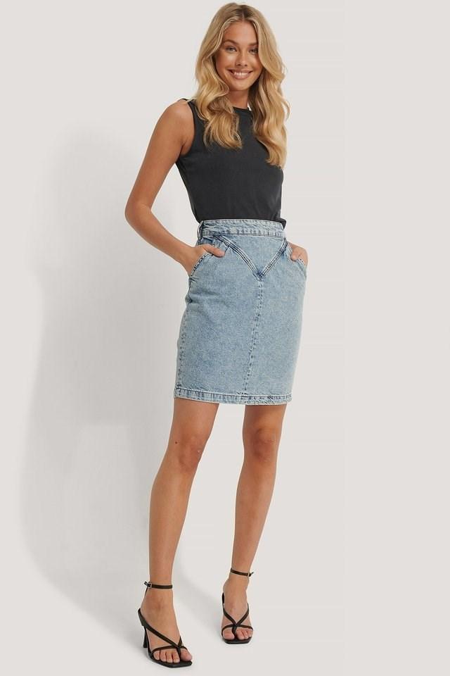 Front Yoke Denim Skirt Outfit.