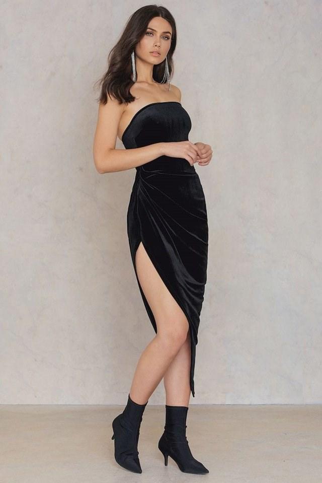 Off Shoulder Side Slit Dress