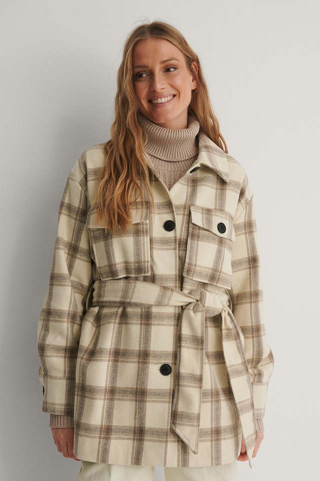 Belted Checked Jacket.