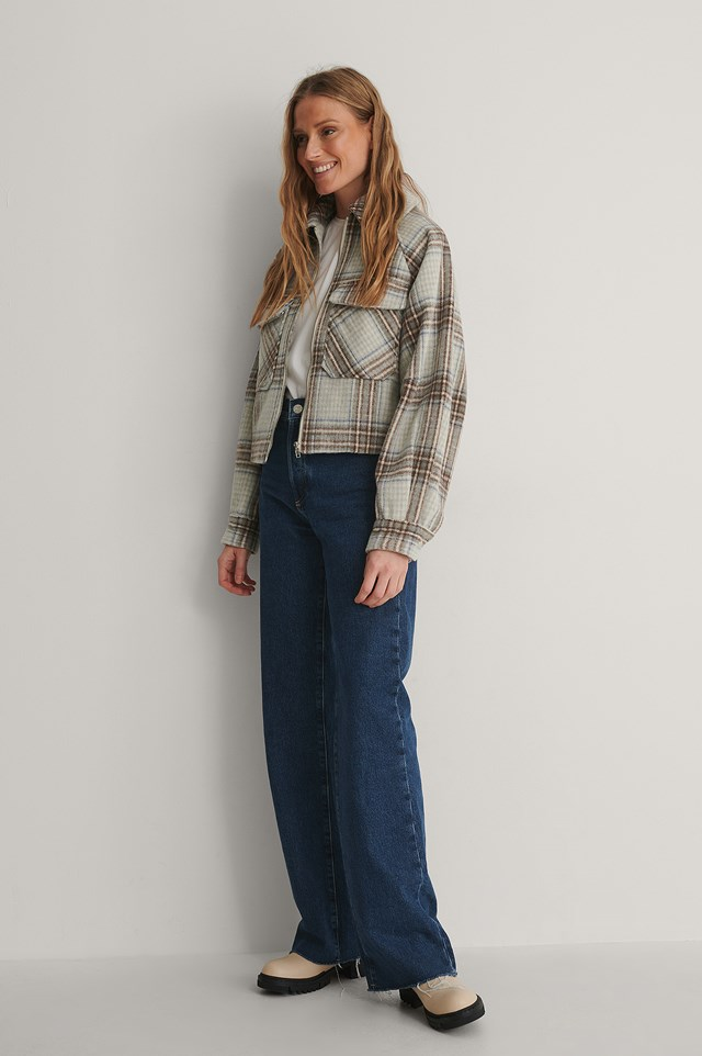 Big Sleeve Checked Jacket Outfit.