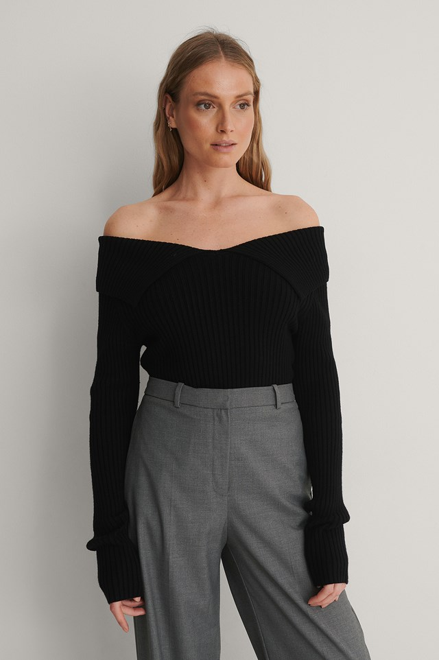 Ribbed Off Shoulder Top Outfit.