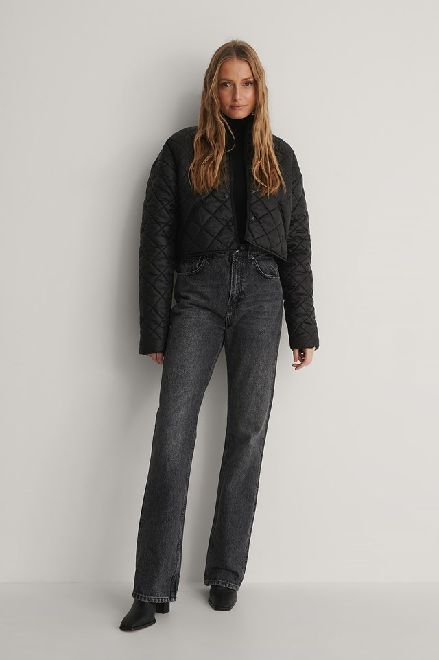 Black Recycled Polyester Padded Cropped Jacket
