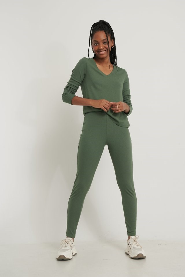 Soft Ribbed V-Neck Longsleeve Outfit.