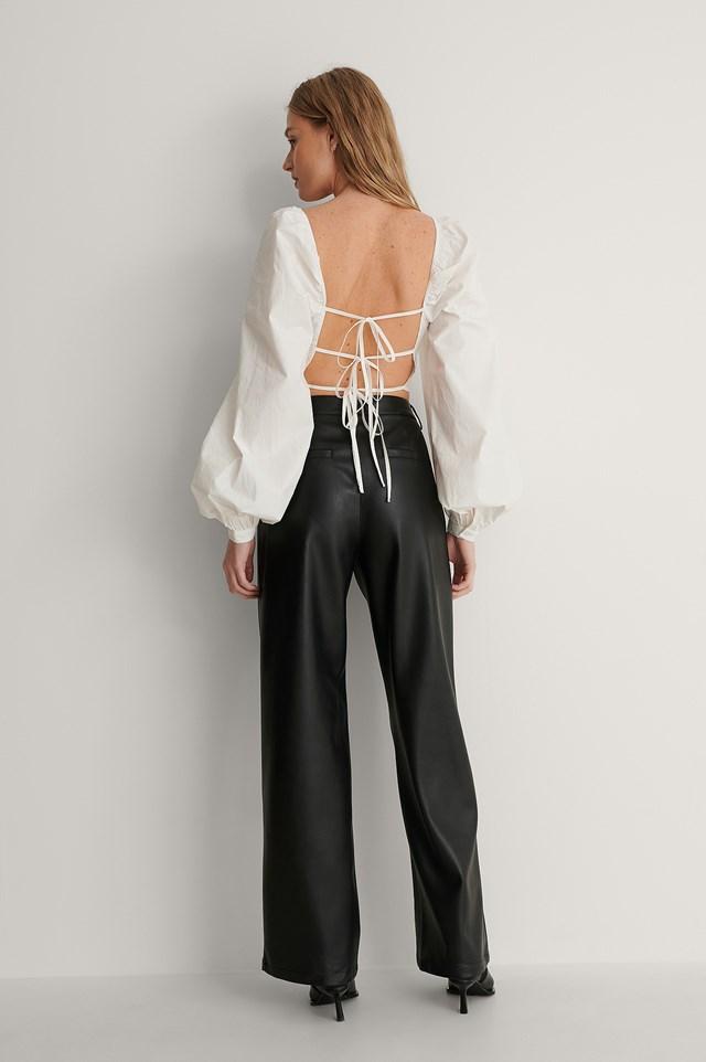 Tie Back Cotton Blouse Outfit.