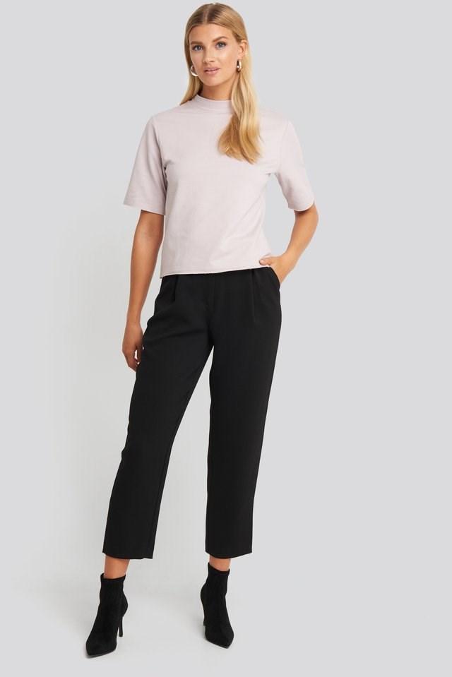 High Neck Short Sleeve T-shirt Outfit.