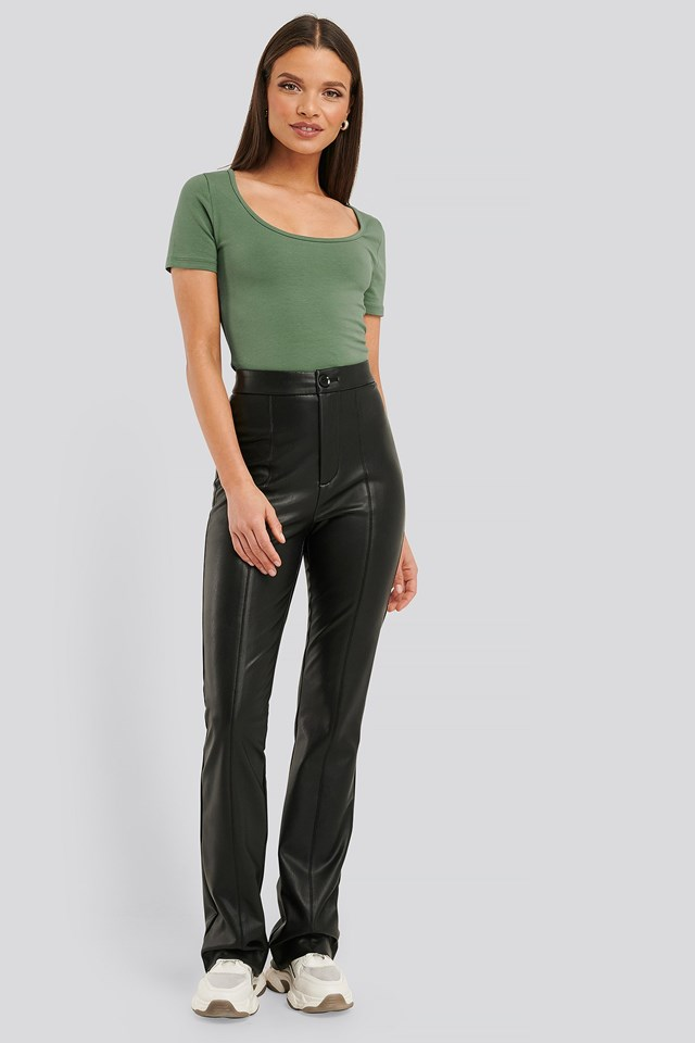 Deep Round Neck Fitted Top Outfit.
