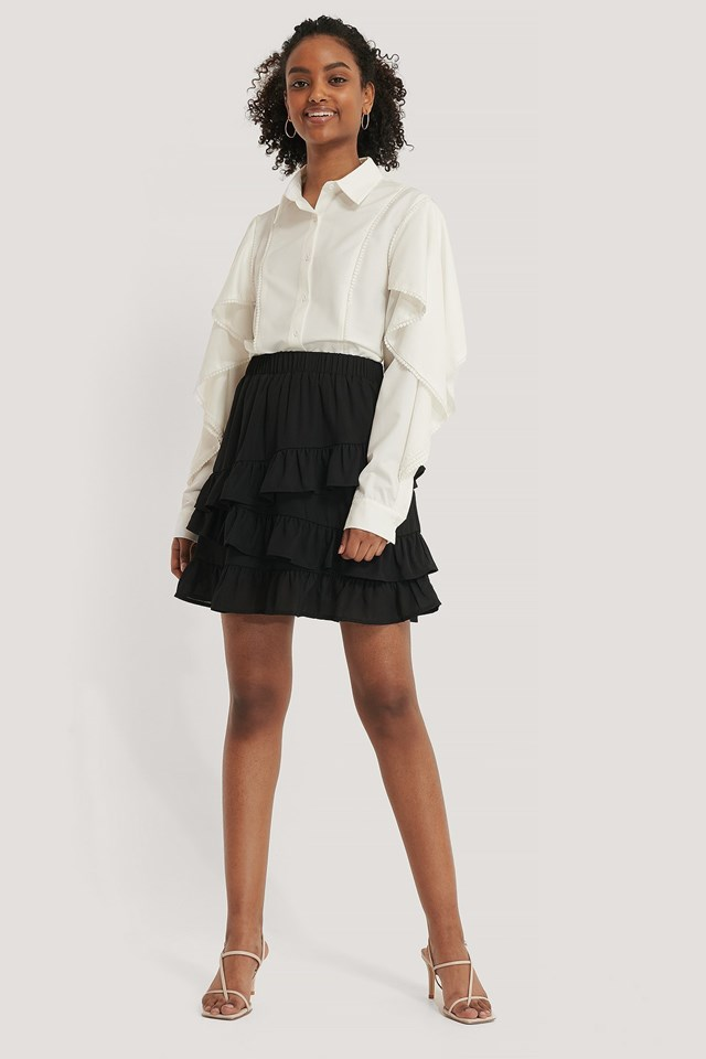 Flounce Panel Mini Skirt Outfit.
