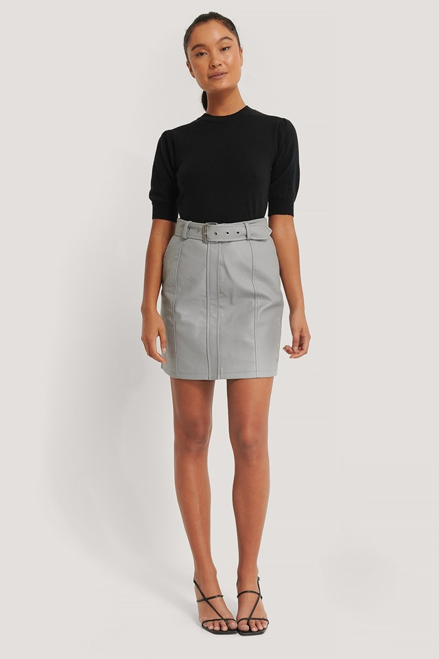 Belted PU Skirt Outfit.
