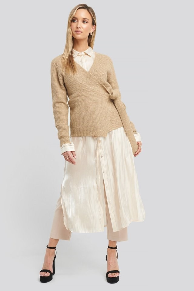 Alpaca Wrap Around Knitted Sweater Outfit.