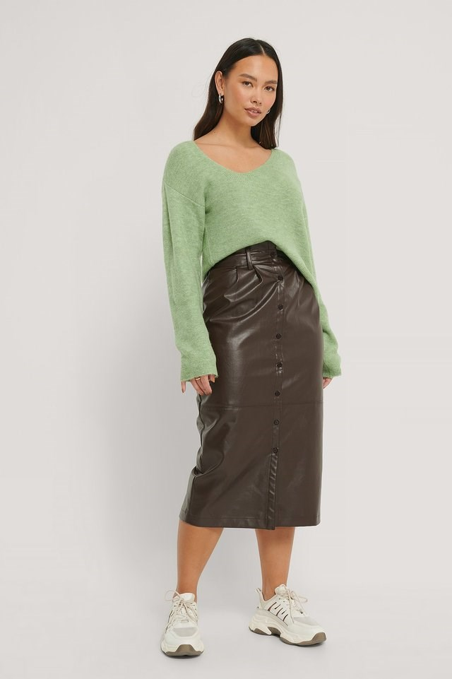 Asymmetric Neckline Knitted Sweater Outfit.