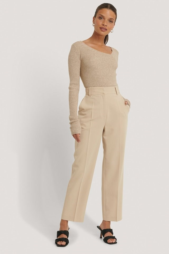 Asymmetric Neckline Ribbed Knitted Sweater Outfit.