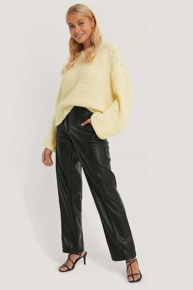 Balloon Sleeve Melange Sweater Outfit.