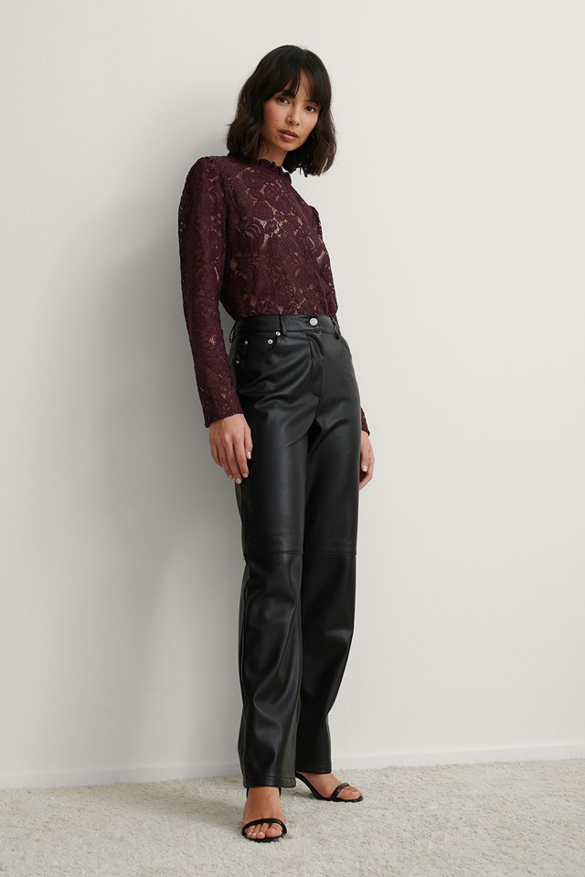 High Neck Frill Lace Blouse Outfit.