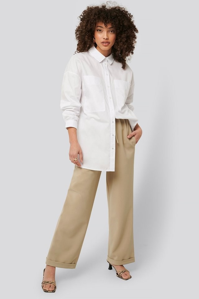 Oversized Patch Pocket Shirt Outfit.