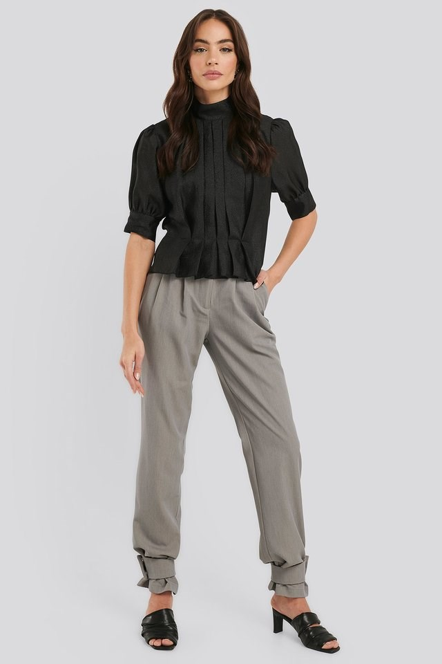 Structured Organza Gathered Blouse Outfit.