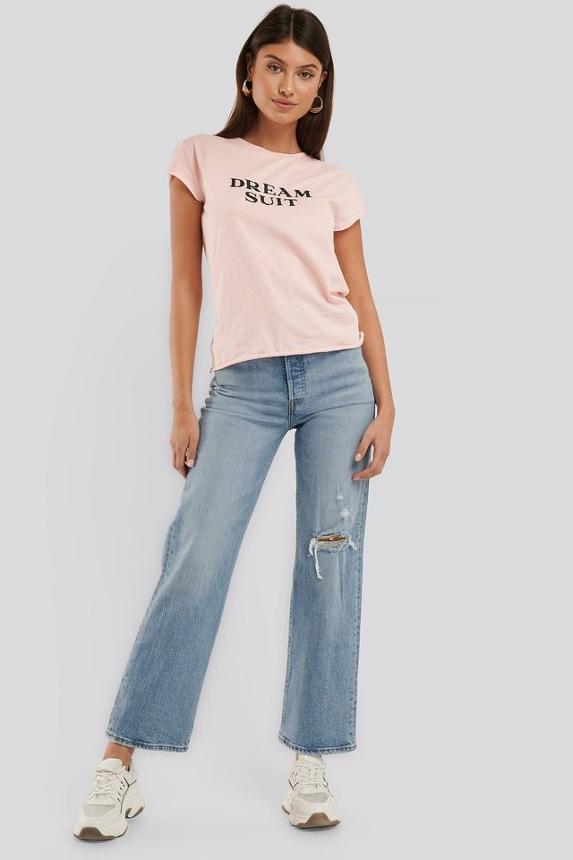 Dream Suit Embroidery Raw Edge tee Outfit.