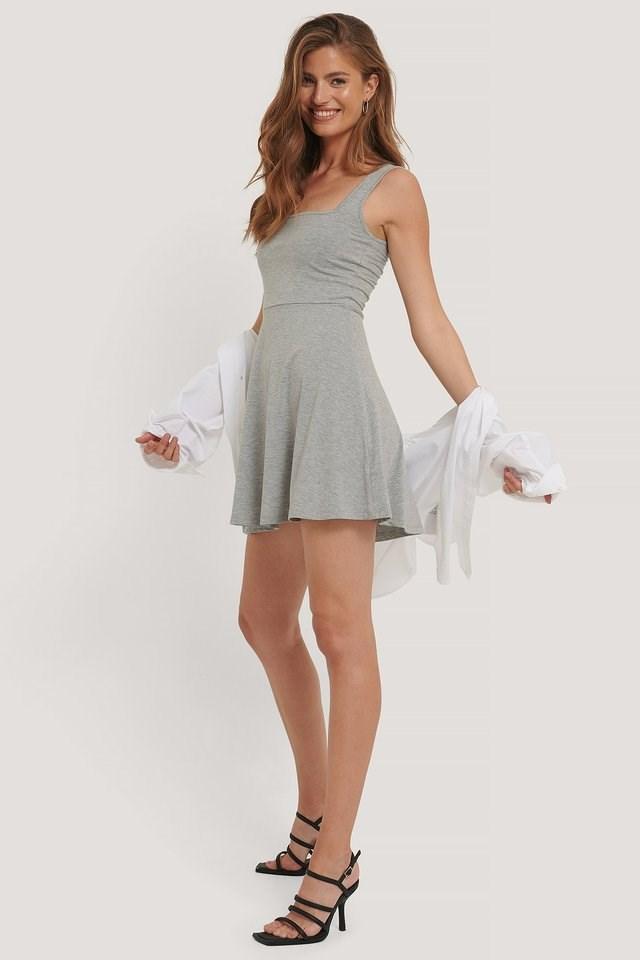 Square Neck Sleeveless Mini Dress Outfit.