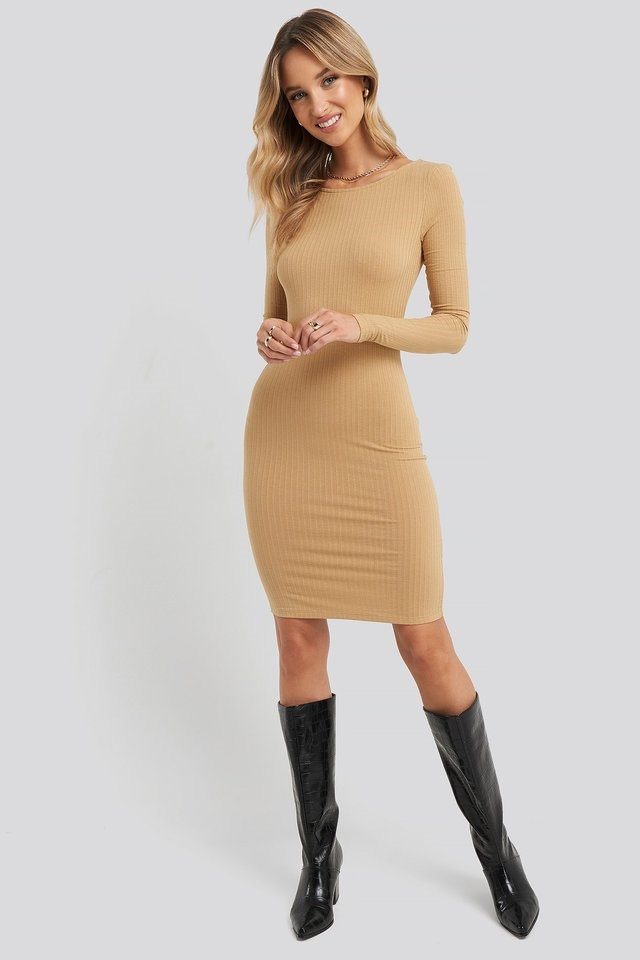 Open Back Ribbed Mini Dress Outfit.
