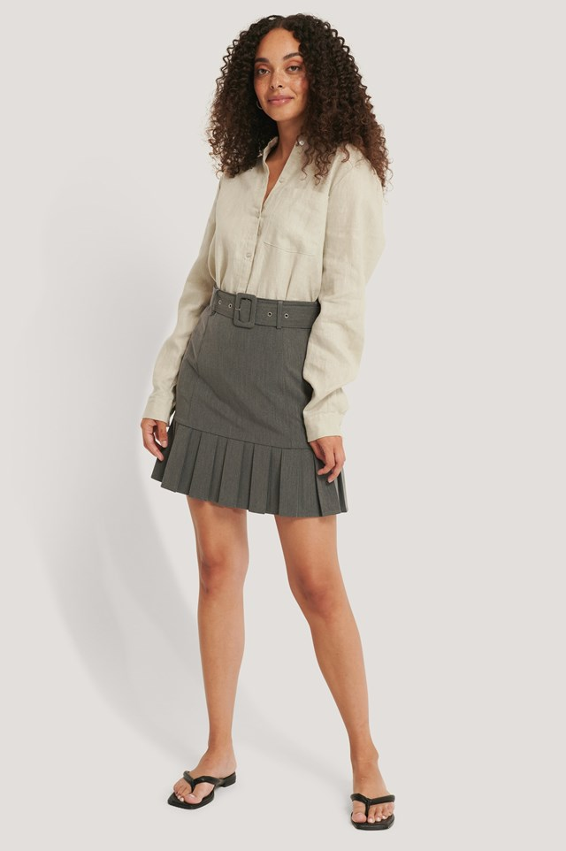 Belted Frill Mini Skirt Outfit.