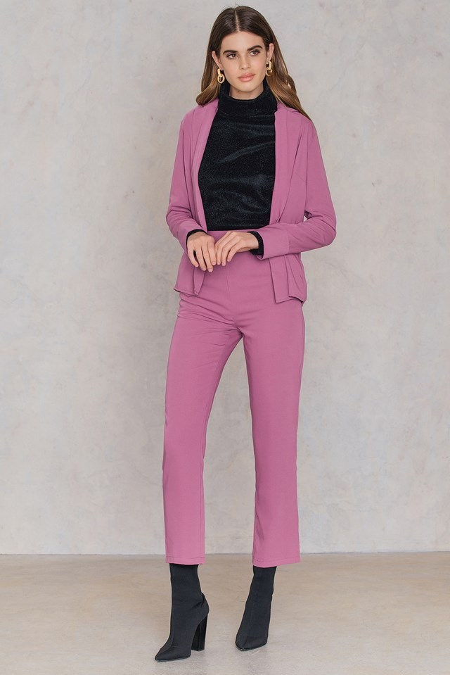 Tailored Pink Suit Outfit