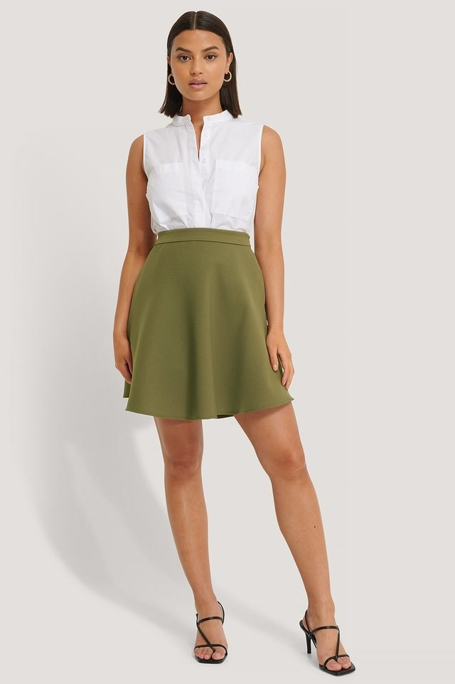 Woven Mini Skirt Outfit.