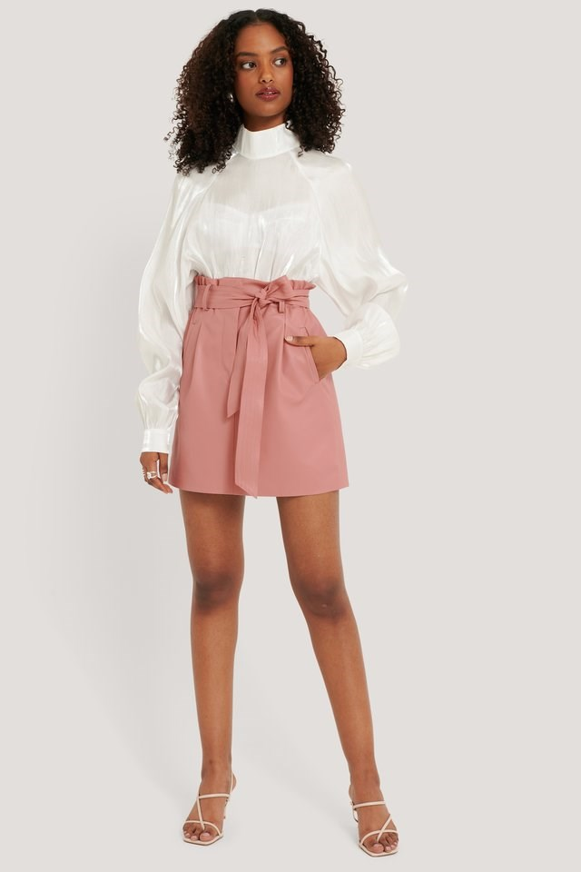 PU Belted Skirt Outfit.