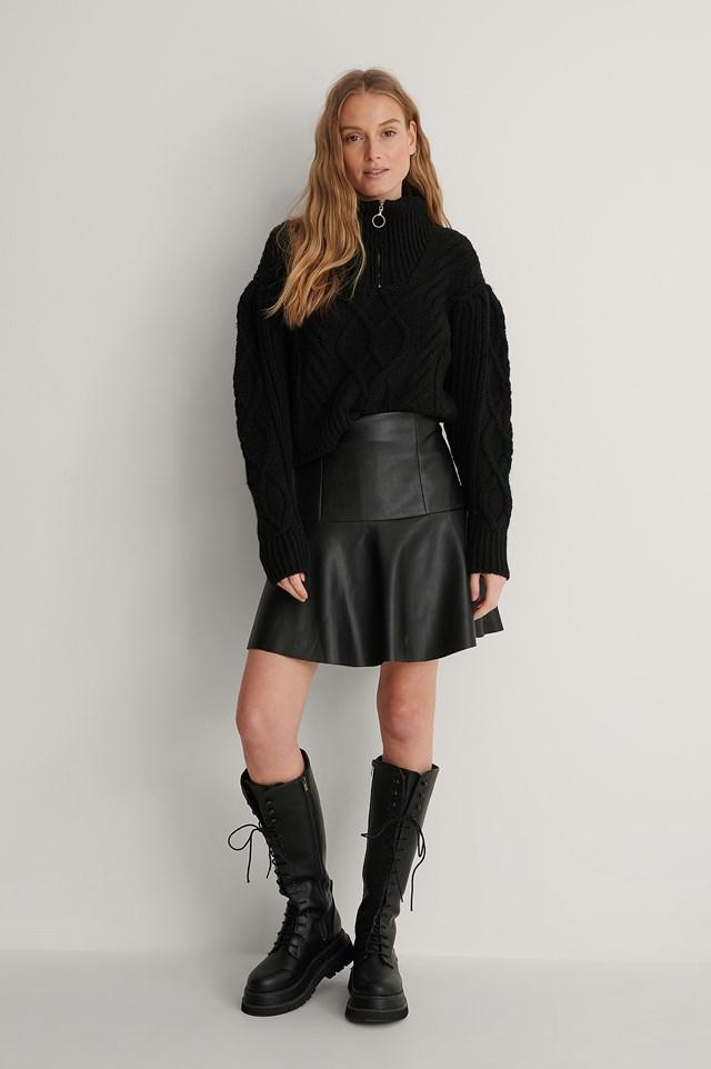 Half Circle Panel Pu Skirt Outfit.