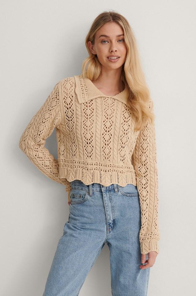 Light Beige Pattern Knit Collar Detail Sweater