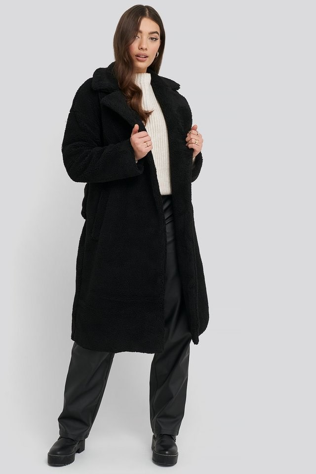 Big Collar Teddy Coat Black.