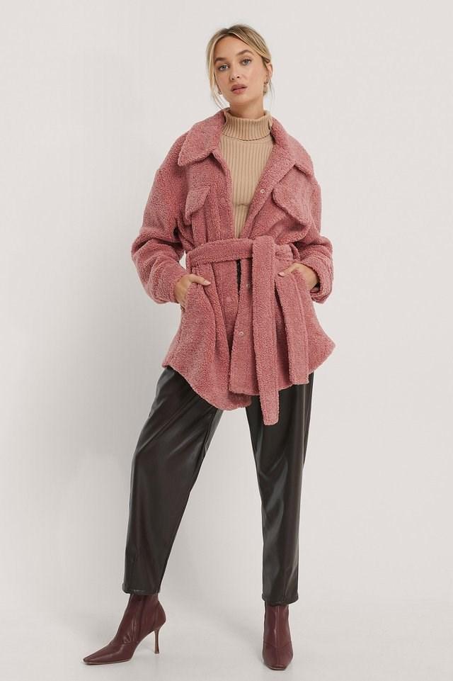Dusty Pink Belted Teddy Jacket