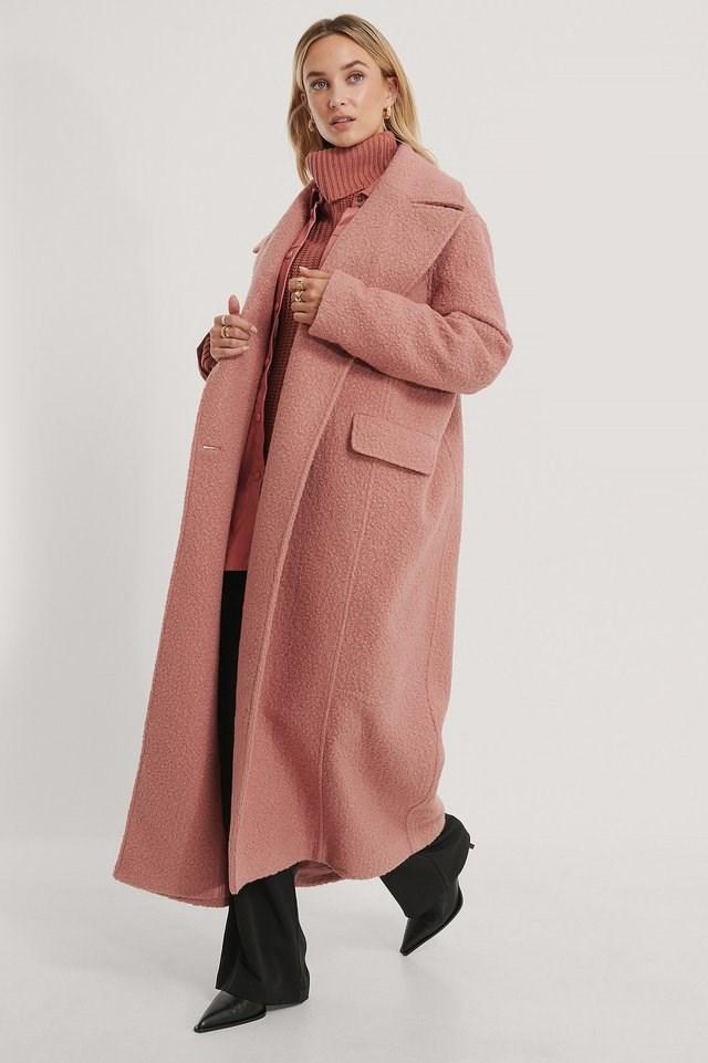 Oversized Maxi Coat Pink.
