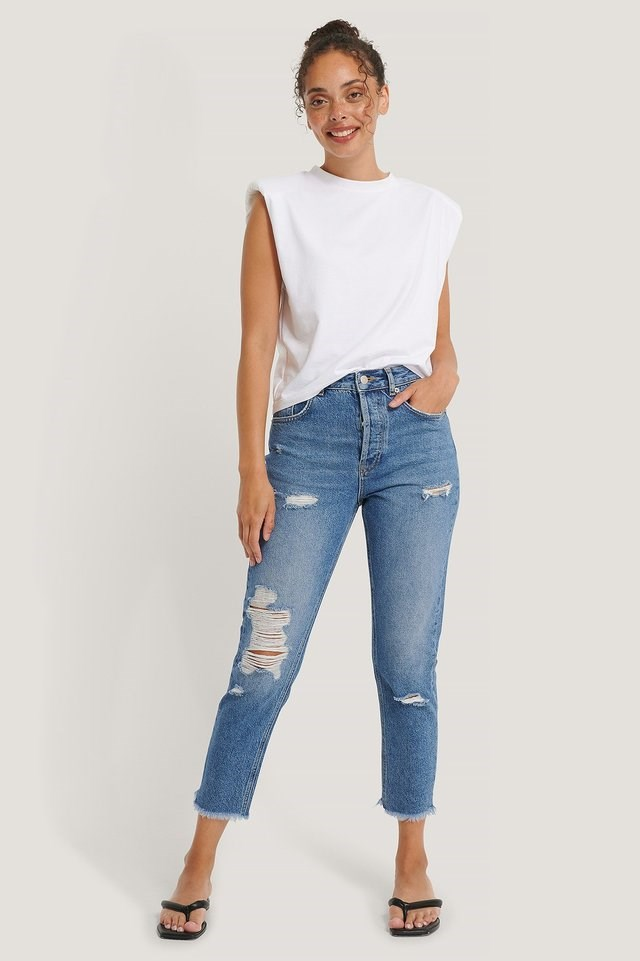 Organic Ripped Detail Mom Jeans Blue.