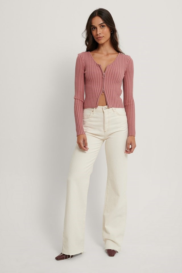 Dusty Pink Zip Detail Ribbed Cardigan