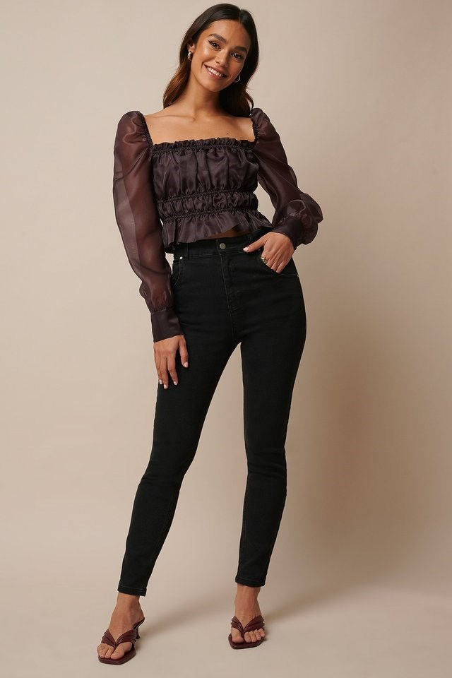 Smocked Long Sleeve Organza Blouse Outfit.