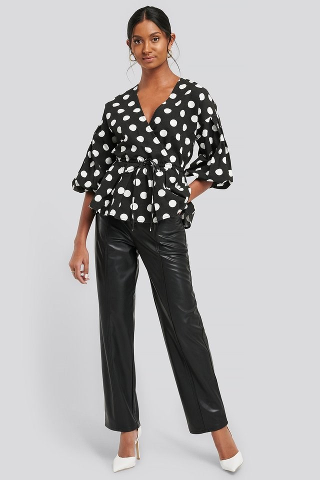 Balloon Sleeve Drawstring Dotted Blouse Outfit.