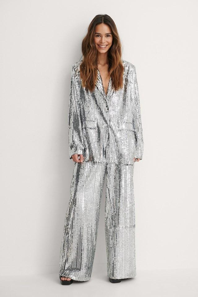 Silver Oversized Sequin Blazer