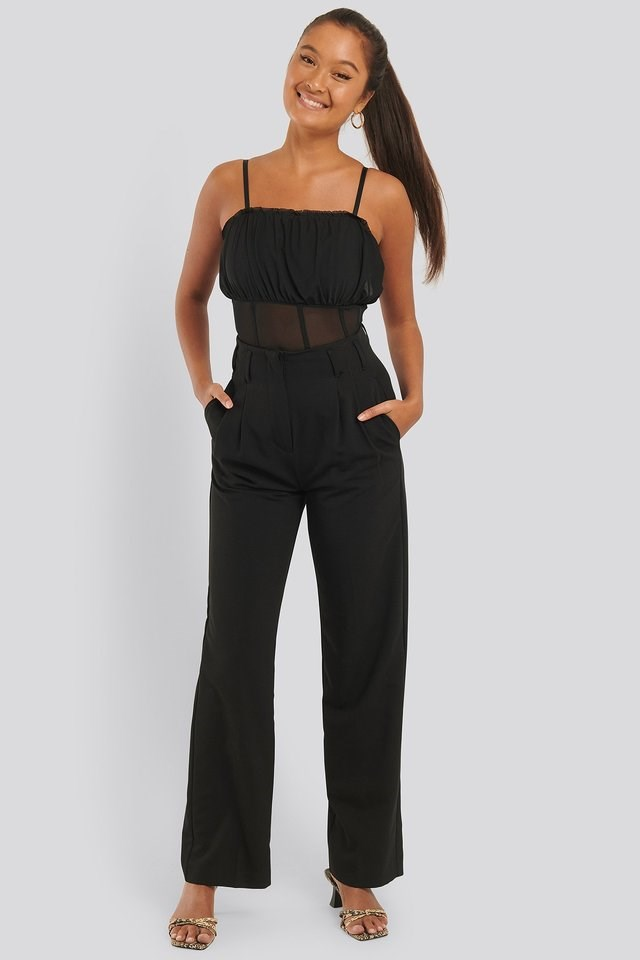 Mesh Flounce Top Outfit.