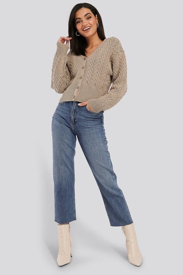 Light Blue High Waist Raw Hem Straight Jeans